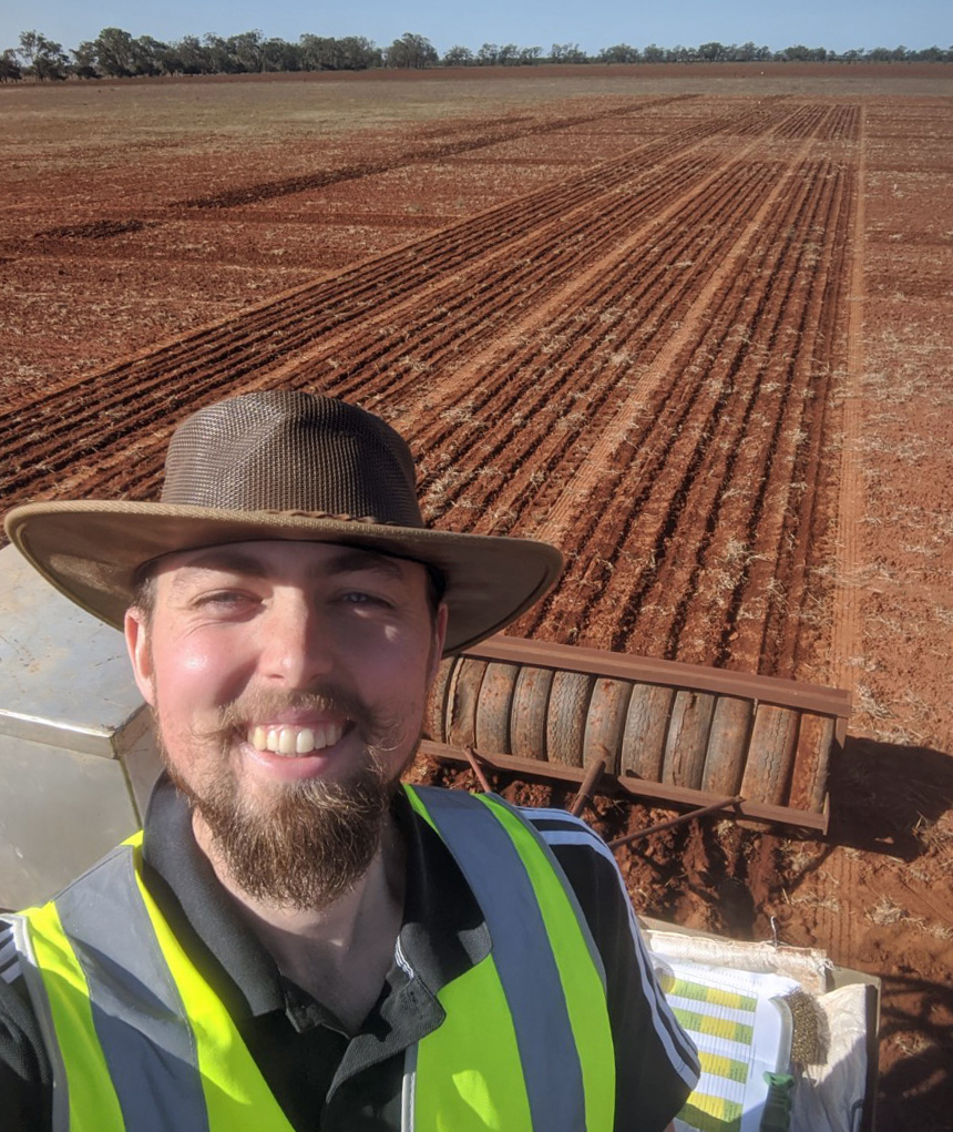 Reuben Burrough sowing chickpea at the Yanco Agricultural Institute