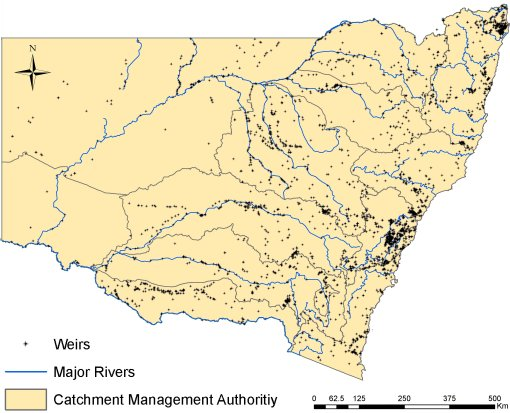 Weirs throughout NSW