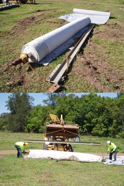 The bentonite roll and the cradle needed to move it around.