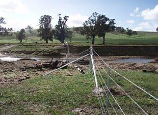 An example of flood fencing across Tarcutta Creek