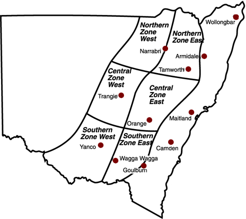 Map of zones used for winter crop gross margin budgets