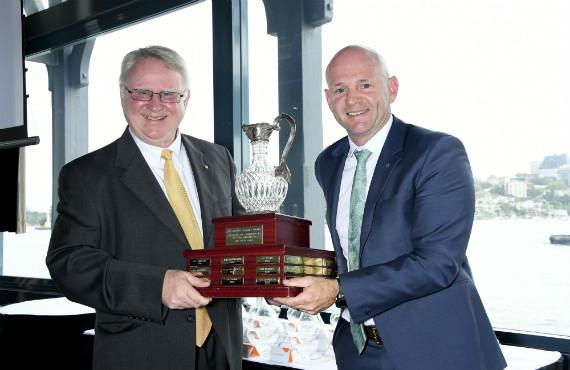 Rick Colless awards Bill Calabria his award.