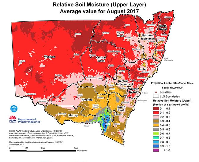 Small map of relative soil moisture (upper level) - average value for July 2017