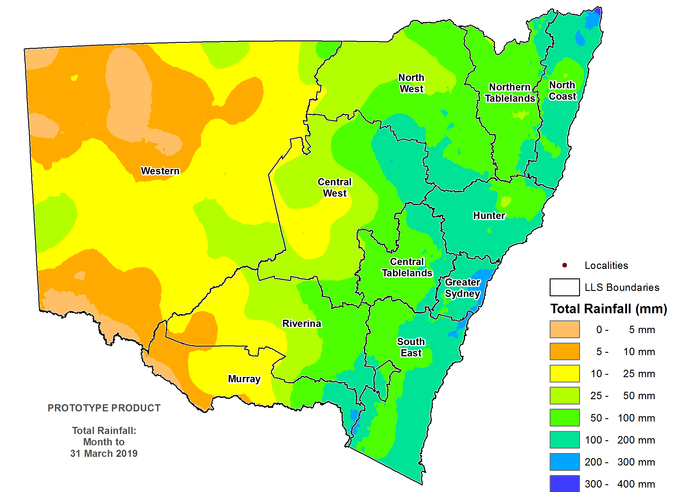 Total rainfall March 2019 - For an accessible explanation of this image contact scott.wallace@dpi.nsw.gov.au