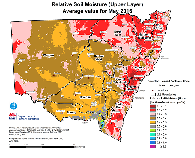 Map of relative soil moisture (upper layer) average value for May 2016