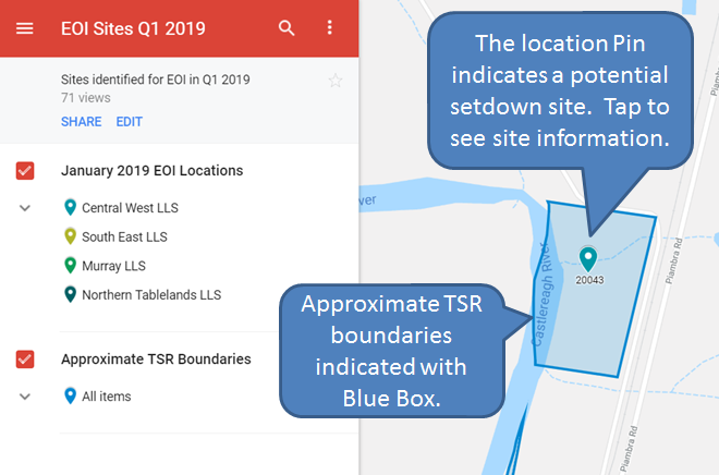 The location pin indicates a potential setdown site; tap the pin to see site information. Approximate TSR boundaries are indicated by blue outline.