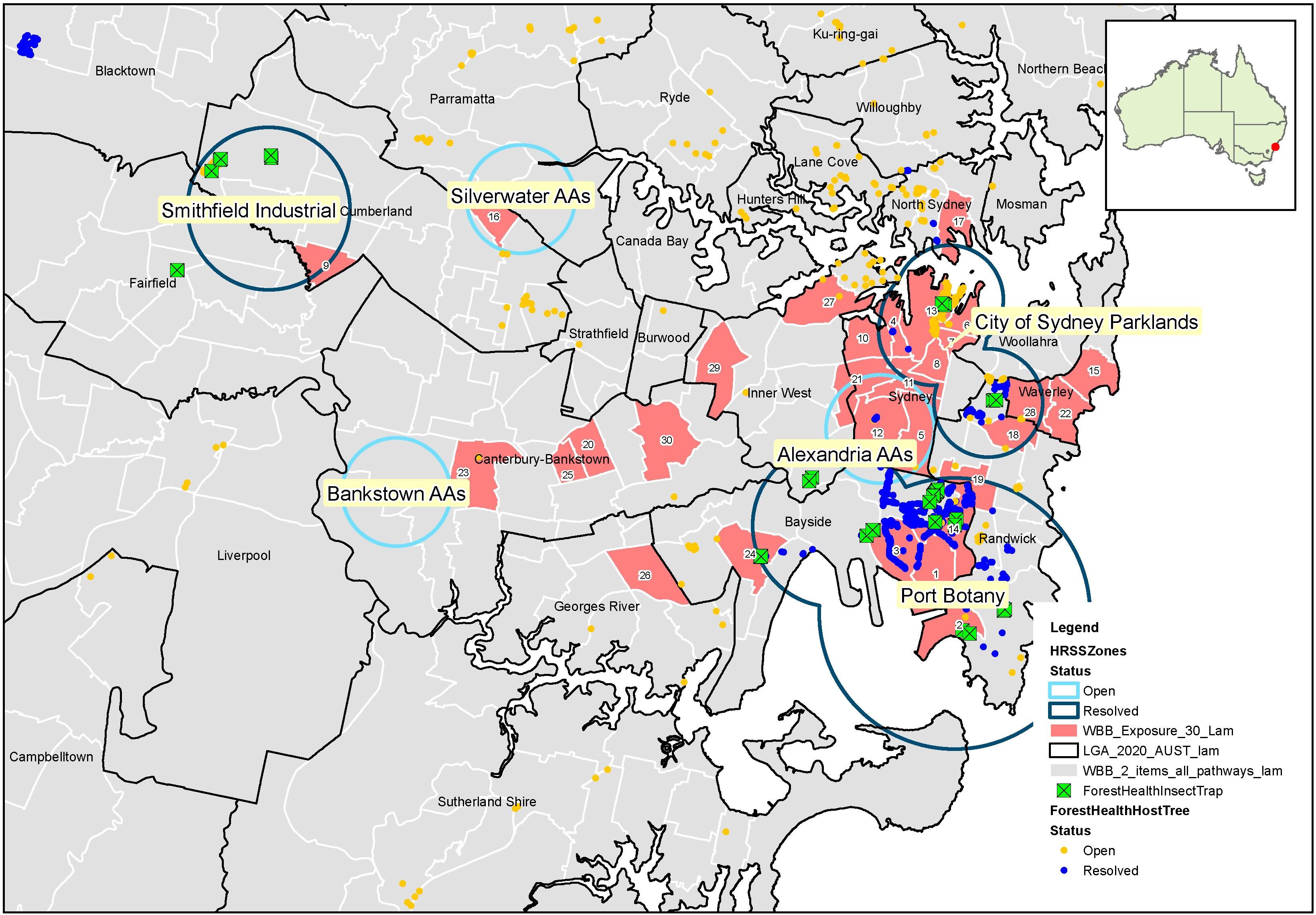 High risk site surveillance zones in Sydney