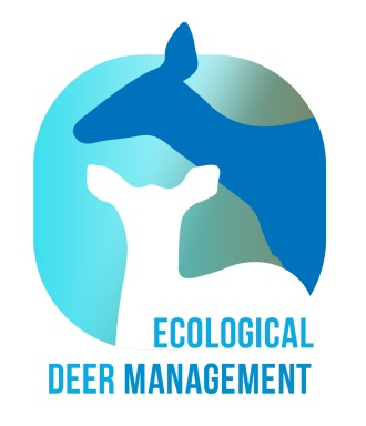 A silhouette of two deer with the words Ecological Deer Management