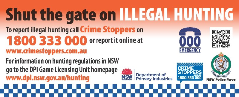A banner asking people to report illegal hunting when they see it to Crime Stoppers on 1800 333 000.