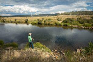 Niall Blair fishing at Eucumbene River