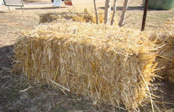 A sqaure bale of golden coloured straw