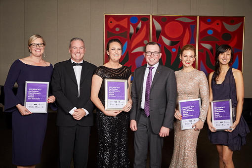 2019 NSW-ACT Rural Women's Award recipients with DPI Director-General Scott Hansen and Minister for Agriculture and Western NSW Adam Marshall MP