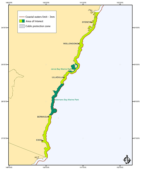 Map of Barrenjoey Head, NSW to the Victorian border from the coast seaward to 3 nautical miles